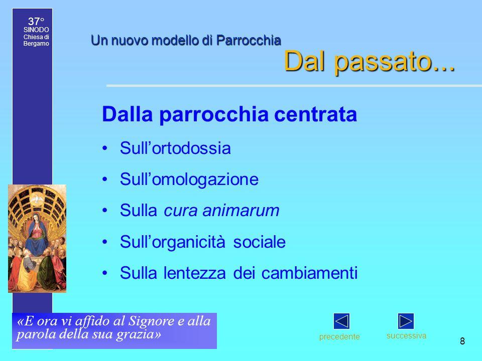 37° SINODO Chiesa di Bergamo «E ora vi affido al Signore e alla parola della sua grazia» 8 Un nuovo modello di Parrocchia Dal passato...