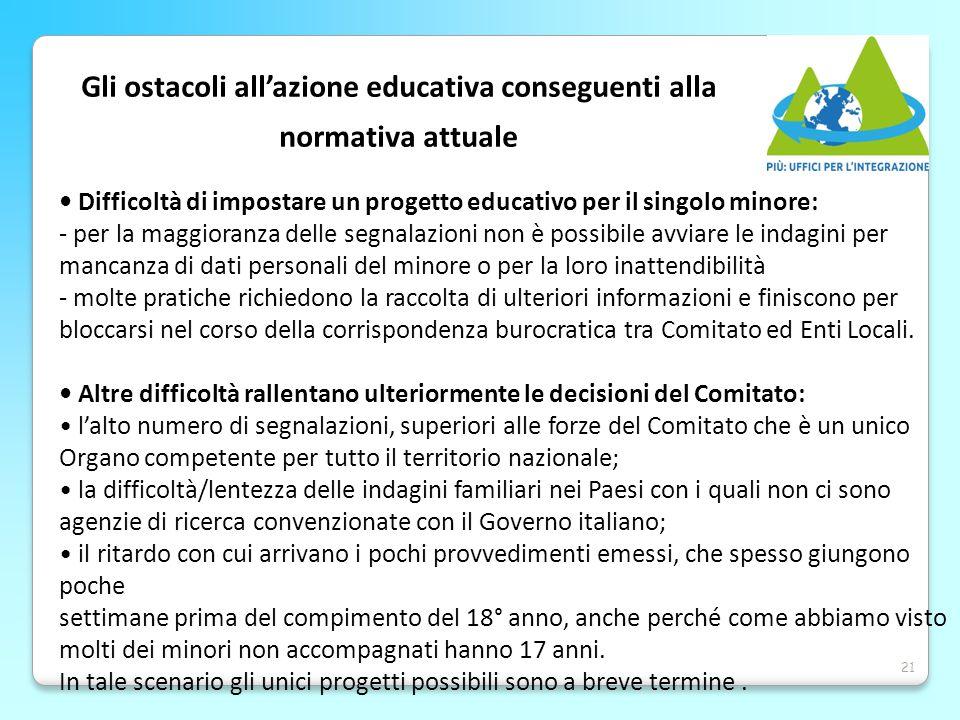 21 Gli ostacoli all'azione educativa conseguenti alla normativa attuale Difficoltà di impostare un progetto educativo per il singolo minore: - per la