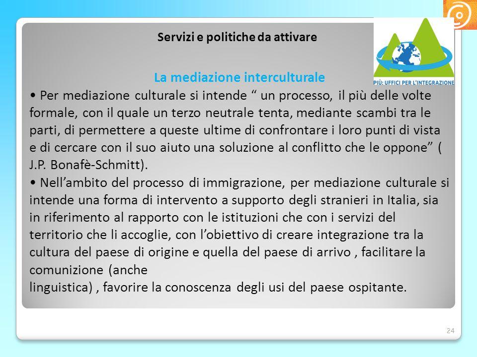 """Servizi e politiche da attivare 24 La mediazione interculturale Per mediazione culturale si intende """" un processo, il più delle volte formale, con il"""