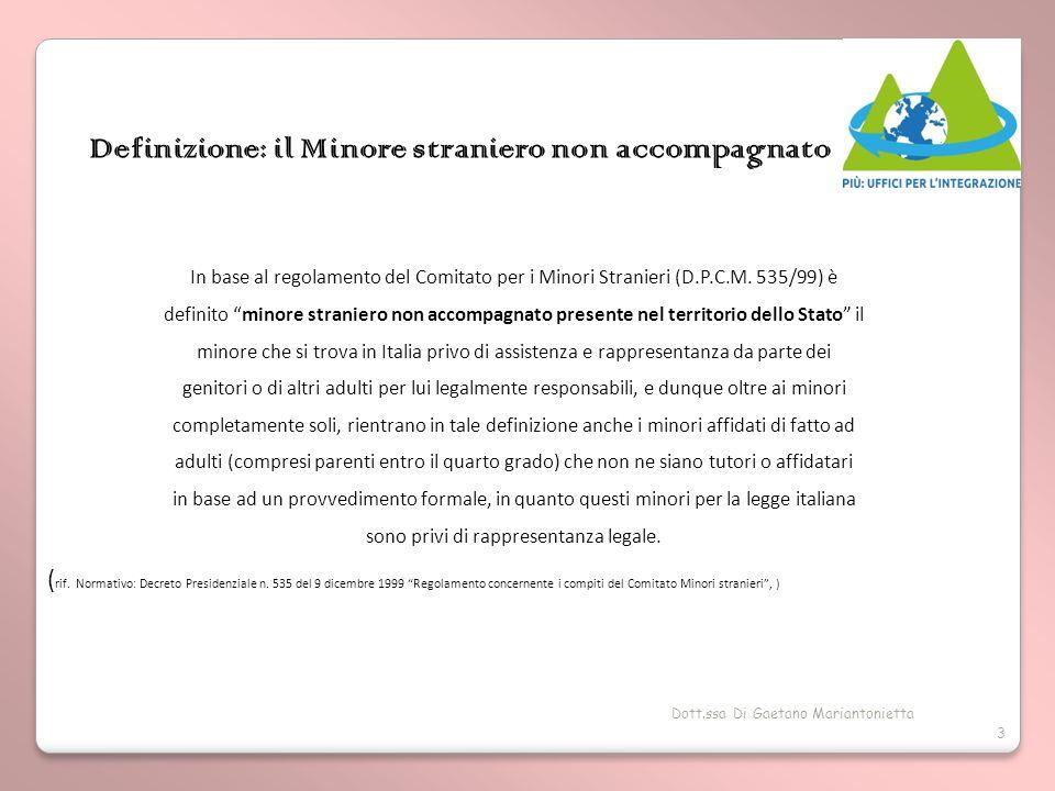 Dott.ssa Di Gaetano Mariantonietta 3 Definizione: il Minore straniero non accompagnato In base al regolamento del Comitato per i Minori Stranieri (D.P