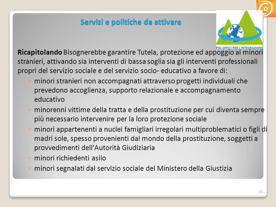 Servizi e politiche da attivare Ricapitolando Bisognerebbe garantire Tutela, protezione ed appoggio ai minori stranieri, attivando sia interventi di b