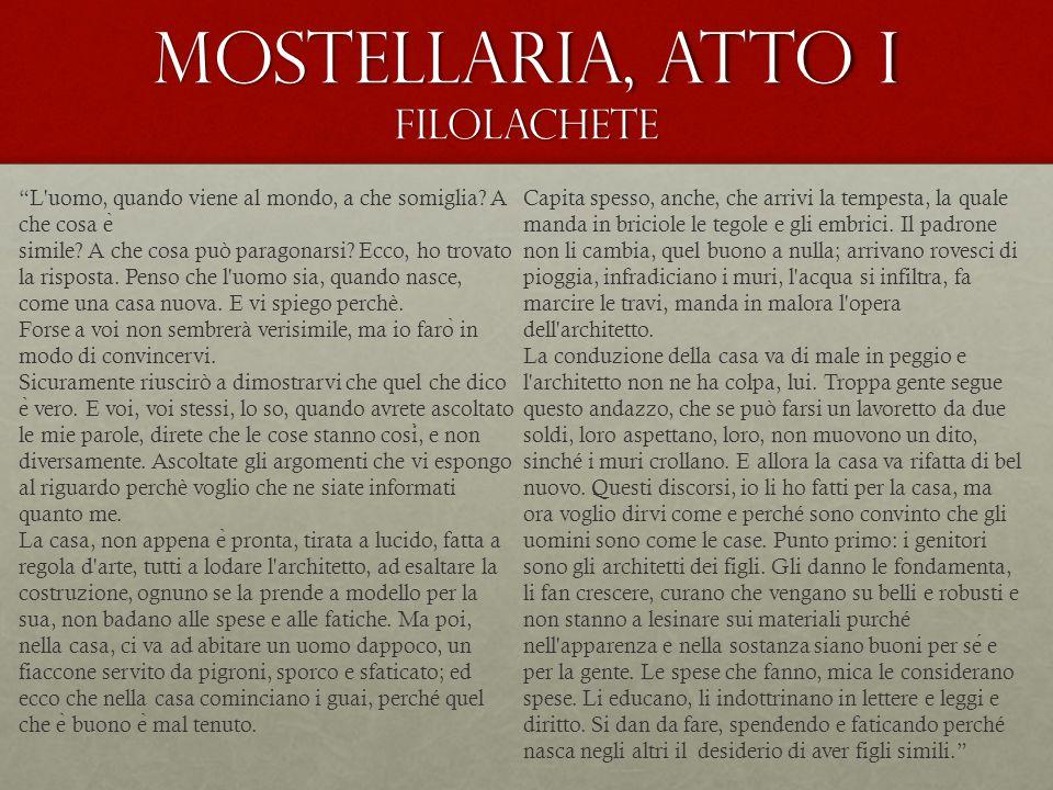 Mostellaria, atto I Filolachete L uomo, quando viene al mondo, a che somiglia.