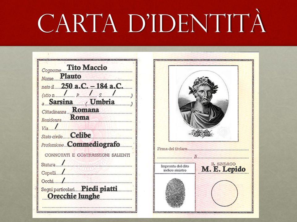 CARTA D'IDENTITÀ CARTA D'IDENTITÀ