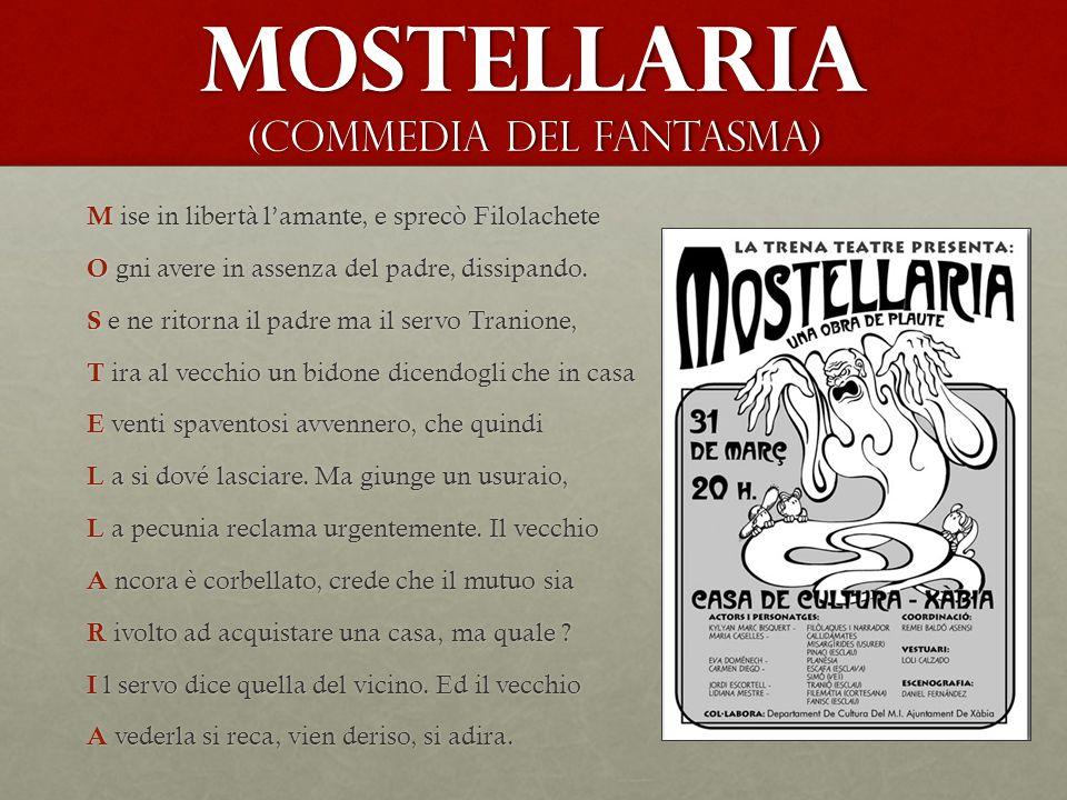 Mostellaria (Commedia del fantasma) M ise in libertà l'amante, e sprecò Filolachete O gni avere in assenza del padre, dissipando.