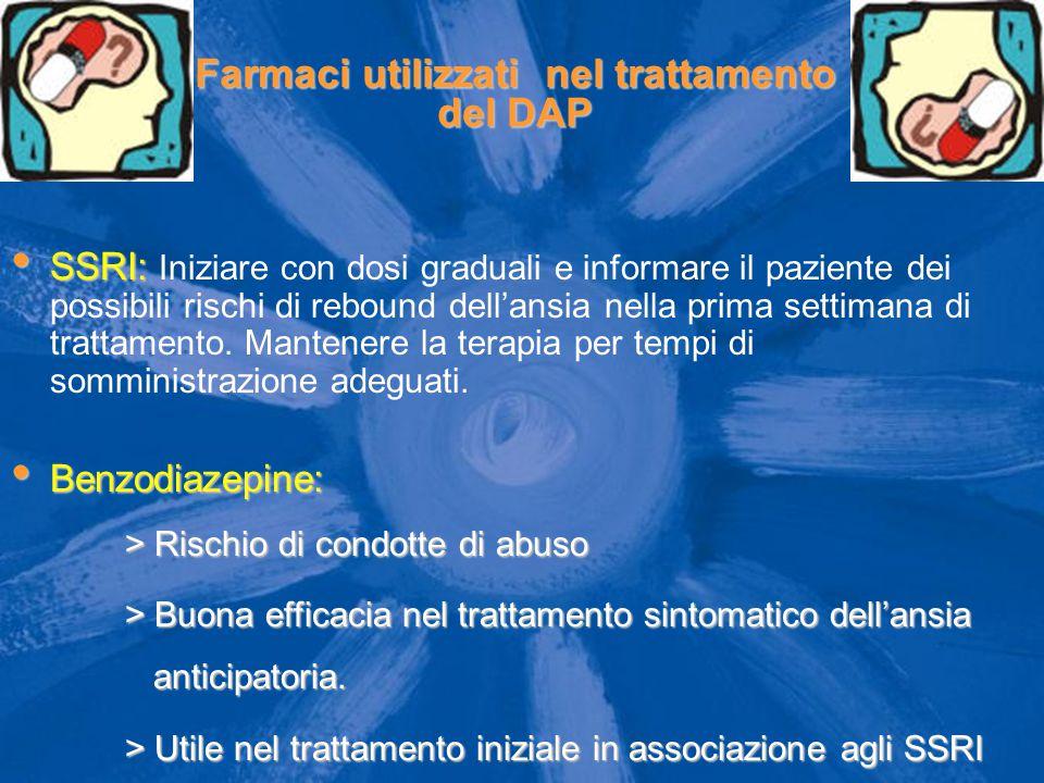 Farmaci utilizzati nel trattamento del DAP SSRI: SSRI: Iniziare con dosi graduali e informare il paziente dei possibili rischi di rebound dell'ansia n