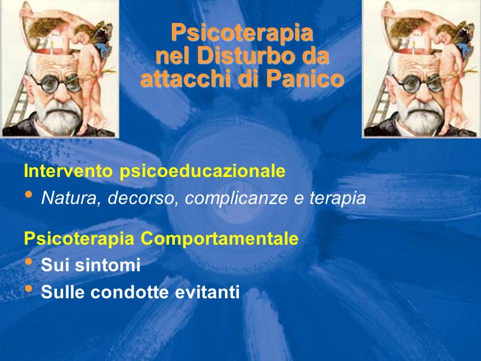 Psicoterapia nel Disturbo da attacchi di Panico Intervento psicoeducazionale Natura, decorso, complicanze e terapia Psicoterapia Comportamentale Sui s