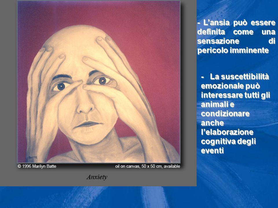 Ansia: Ansia: definizione - L'ansia può essere definita come una sensazione di pericolo imminente - La suscettibilità emozionale può interessare tutti