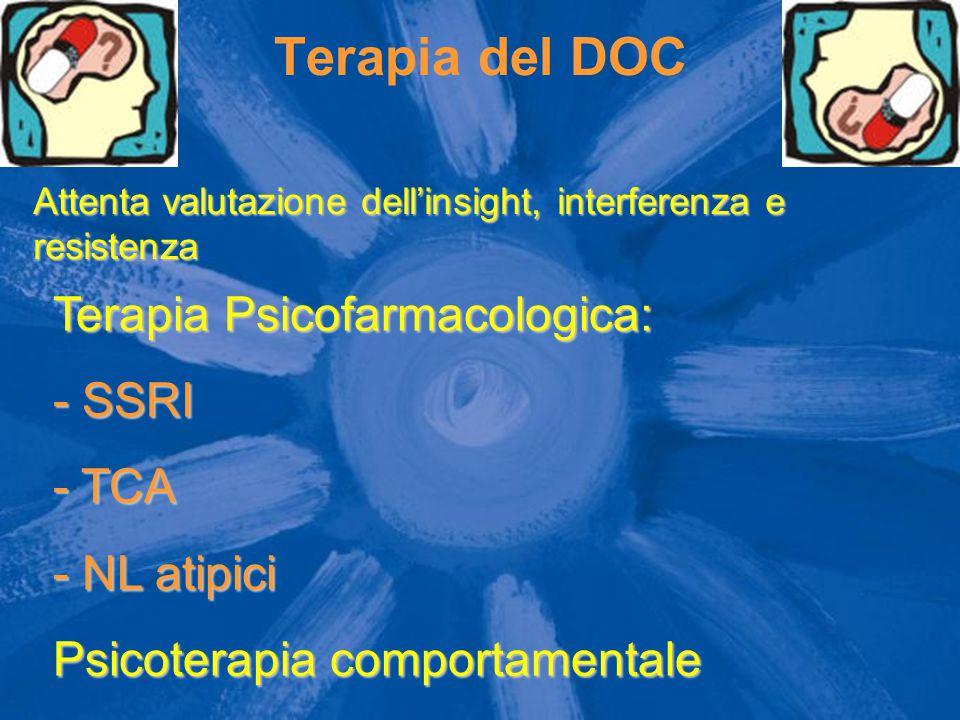 Terapia del DOC Attenta valutazione dell'insight, interferenza e resistenza Terapia Psicofarmacologica: - SSRI - TCA - NL atipici Psicoterapia comport