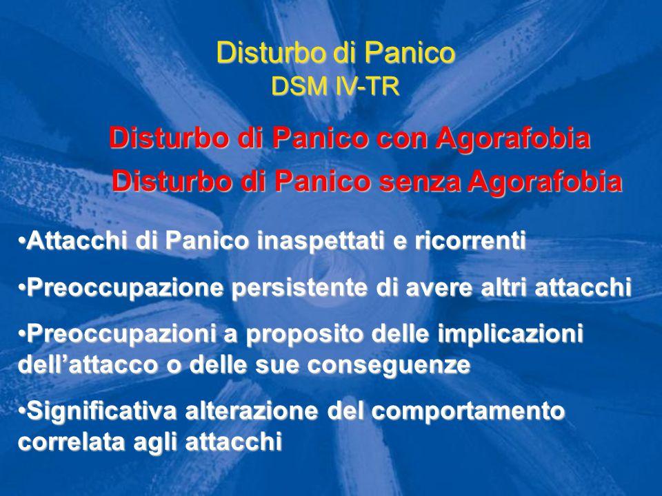 Disturbo di Panico DSM IV-TR Disturbo di Panico con Agorafobia Attacchi di Panico inaspettati e ricorrentiAttacchi di Panico inaspettati e ricorrenti
