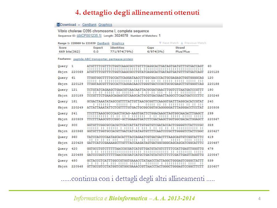 Informatica e Bioinformatica – A.A. 2013-2014 4 4.