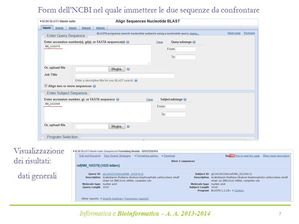 Informatica e Bioinformatica – A.A.