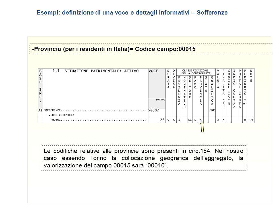 10 -Provincia (per i residenti in Italia)= Codice campo:00015 Le codifiche relative alle provincie sono presenti in circ.154. Nel nostro caso essendo