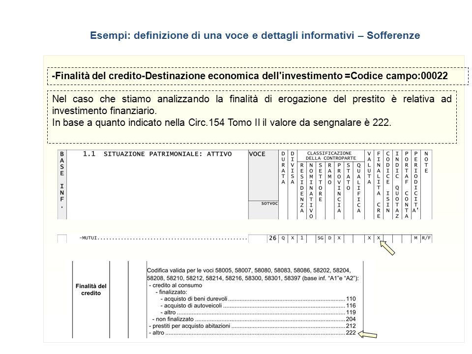 12 -Finalità del credito-Destinazione economica dell'investimento =Codice campo:00022 Nel caso che stiamo analizzando la finalità di erogazione del pr