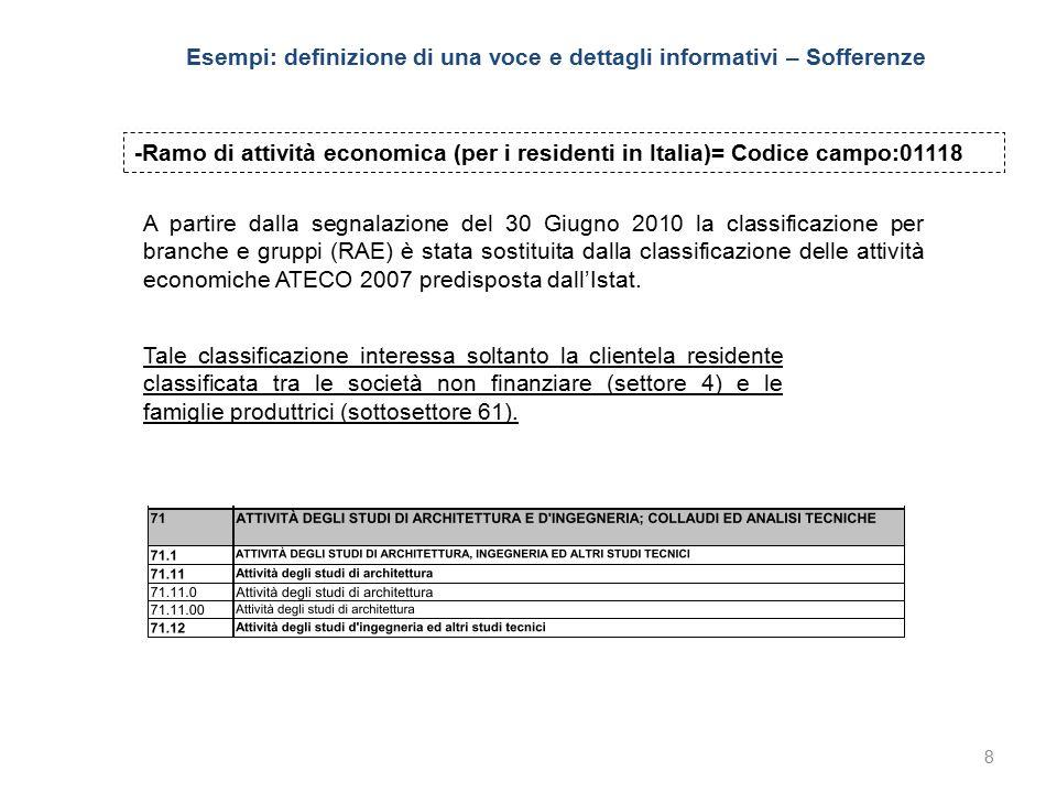 9 -Ramo di attività economica (per i residenti in Italia)= Codice campo:01118 Grado di settorizzazione Divisione (D).