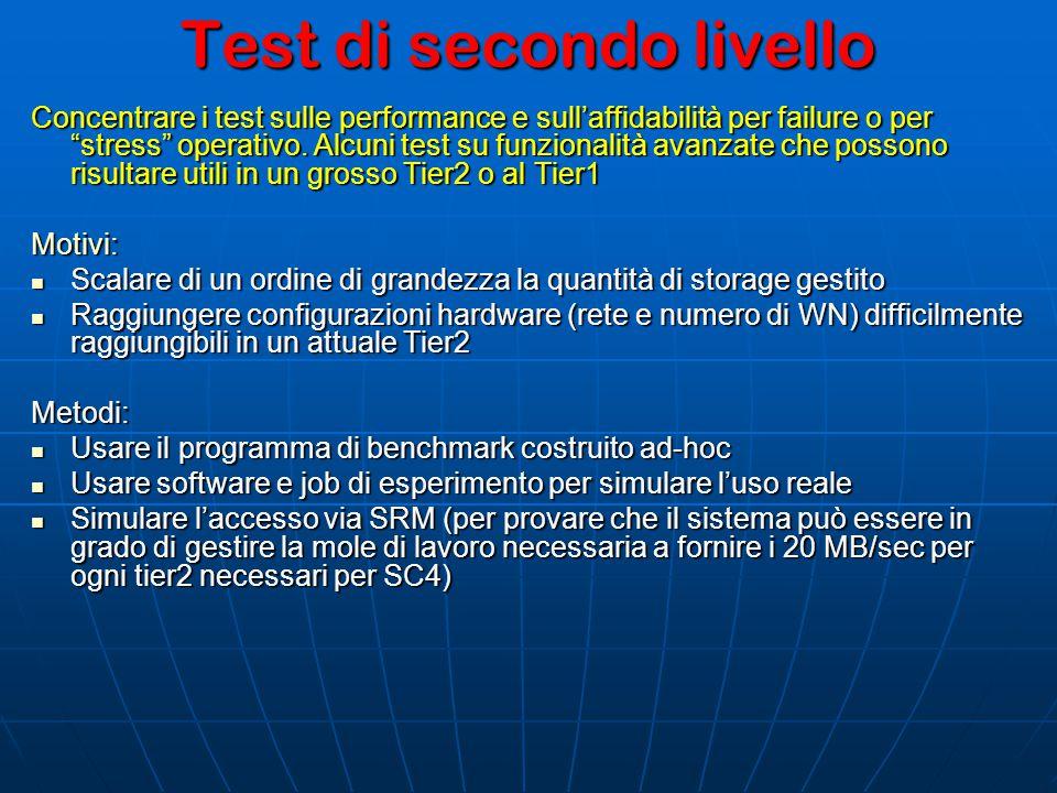 Test di secondo livello Concentrare i test sulle performance e sull'affidabilità per failure o per stress operativo.