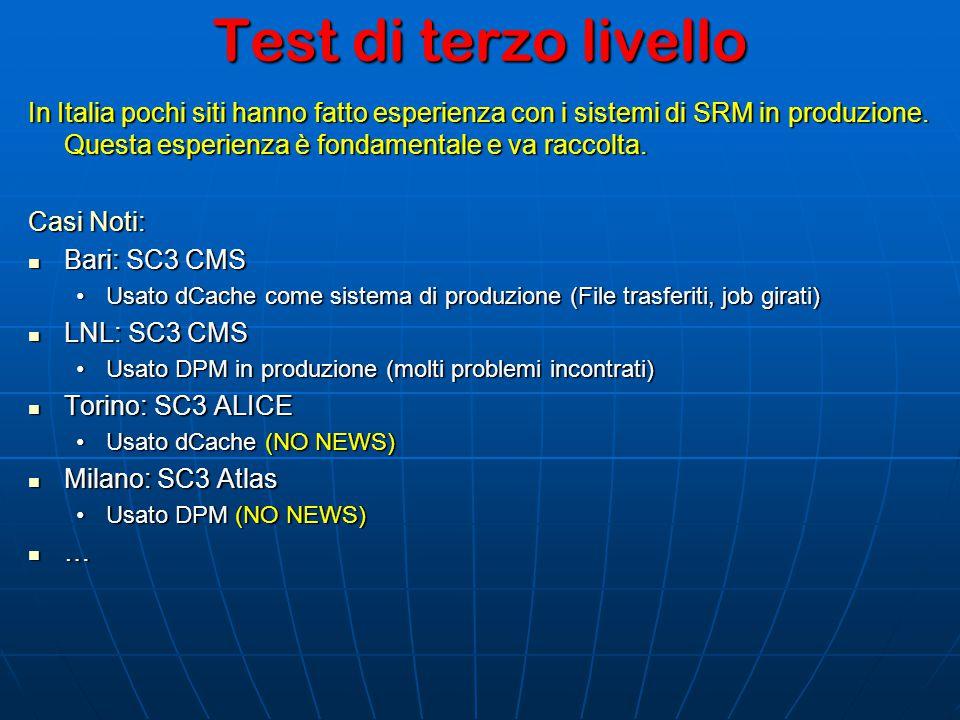 Test di terzo livello In Italia pochi siti hanno fatto esperienza con i sistemi di SRM in produzione.