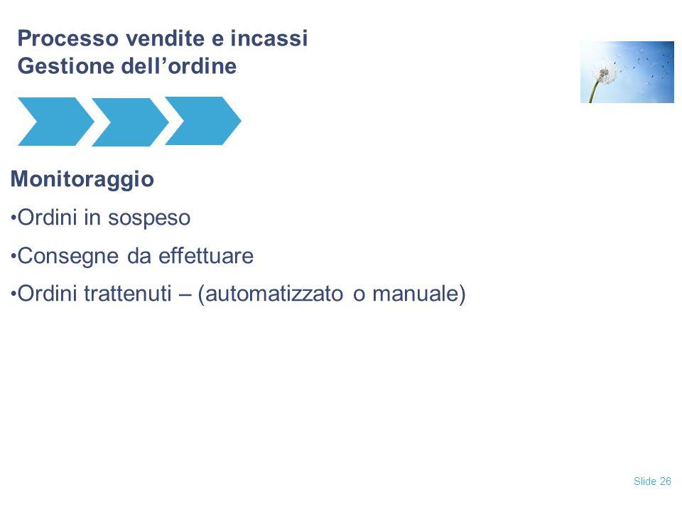 Slide 26 Processo vendite e incassi Gestione dell'ordine Monitoraggio Ordini in sospeso Consegne da effettuare Ordini trattenuti – (automatizzato o ma