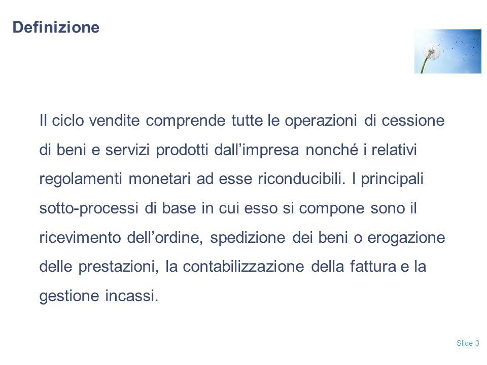 Slide 3 Definizione Il ciclo vendite comprende tutte le operazioni di cessione di beni e servizi prodotti dall'impresa nonché i relativi regolamenti m