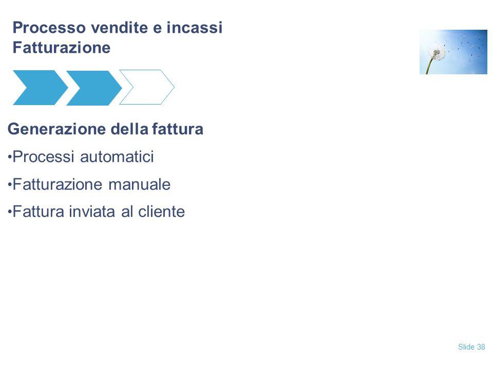 Slide 38 Processo vendite e incassi Fatturazione Generazione della fattura Processi automatici Fatturazione manuale Fattura inviata al cliente
