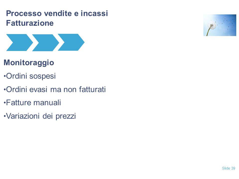 Slide 39 Processo vendite e incassi Fatturazione Monitoraggio Ordini sospesi Ordini evasi ma non fatturati Fatture manuali Variazioni dei prezzi