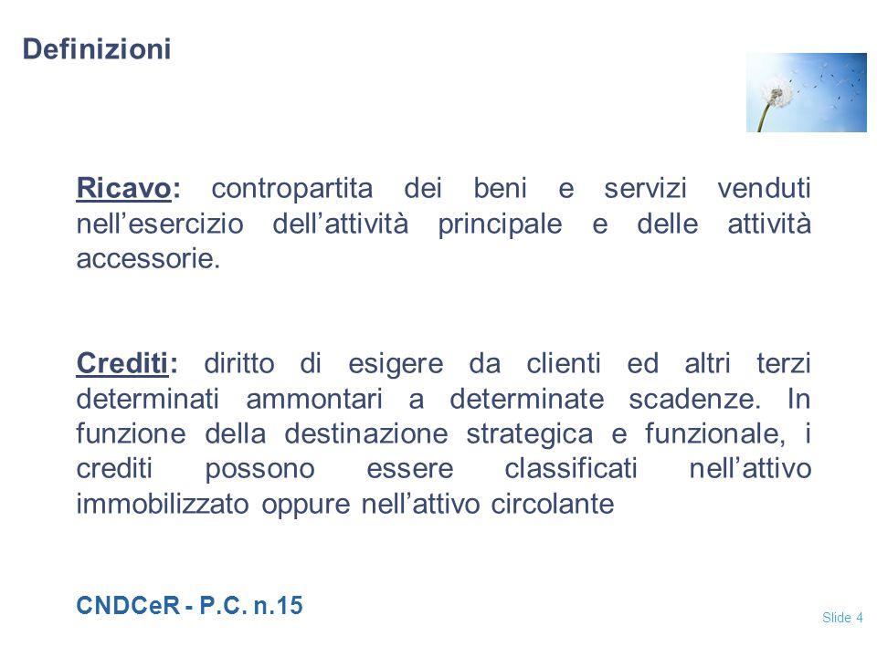 Slide 4 Definizioni Ricavo: contropartita dei beni e servizi venduti nell'esercizio dell'attività principale e delle attività accessorie. Crediti: dir