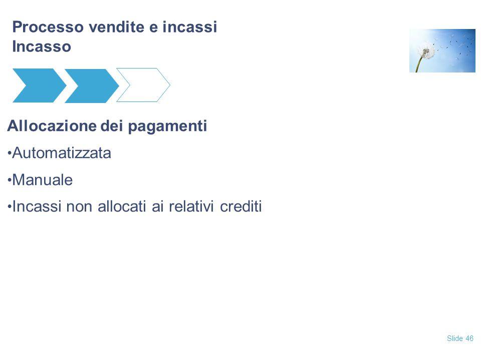 Slide 46 Processo vendite e incassi Incasso Allocazione dei pagamenti Automatizzata Manuale Incassi non allocati ai relativi crediti