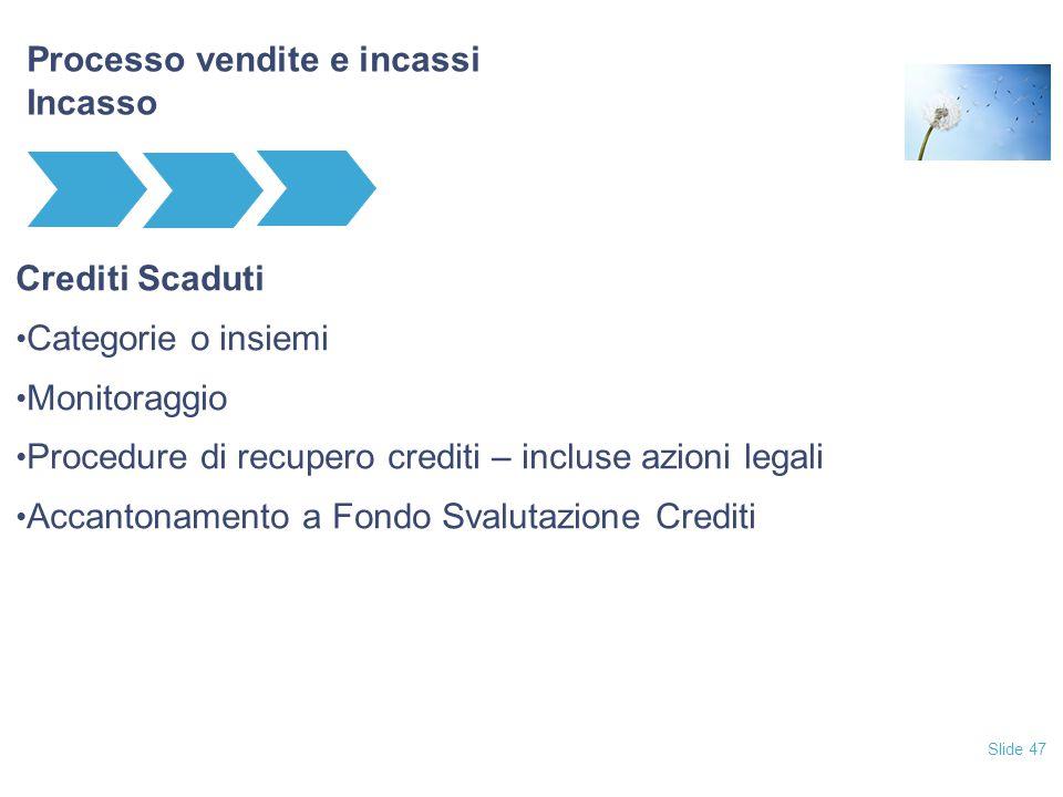 Slide 47 Processo vendite e incassi Incasso Crediti Scaduti Categorie o insiemi Monitoraggio Procedure di recupero crediti – incluse azioni legali Acc