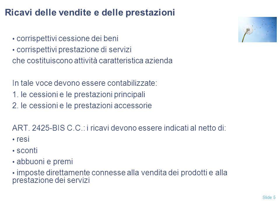 Slide 5 Ricavi delle vendite e delle prestazioni corrispettivi cessione dei beni corrispettivi prestazione di servizi che costituiscono attività carat