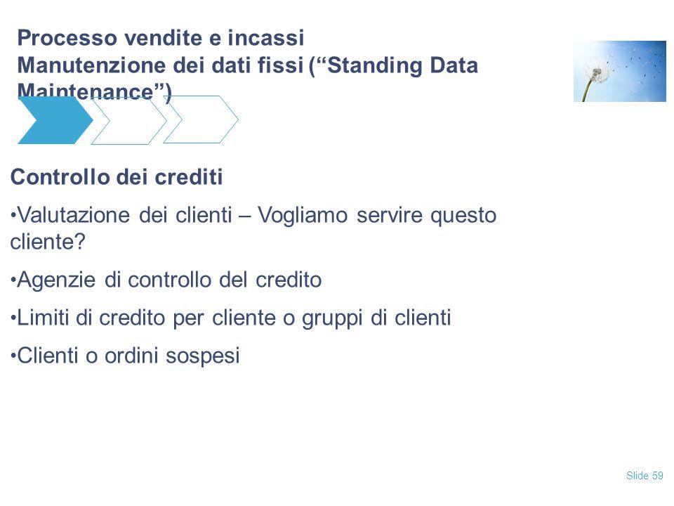 """Slide 59 Processo vendite e incassi Manutenzione dei dati fissi (""""Standing Data Maintenance"""") Controllo dei crediti Valutazione dei clienti – Vogliamo"""