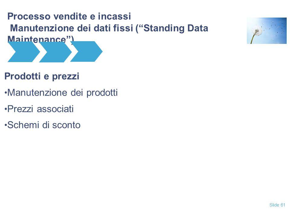 """Slide 61 Processo vendite e incassi Manutenzione dei dati fissi (""""Standing Data Maintenance"""") Prodotti e prezzi Manutenzione dei prodotti Prezzi assoc"""