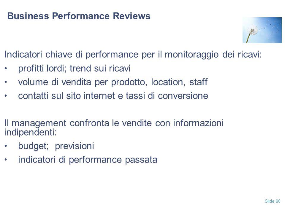 Slide 80 Business Performance Reviews Indicatori chiave di performance per il monitoraggio dei ricavi: profitti lordi; trend sui ricavi volume di vend