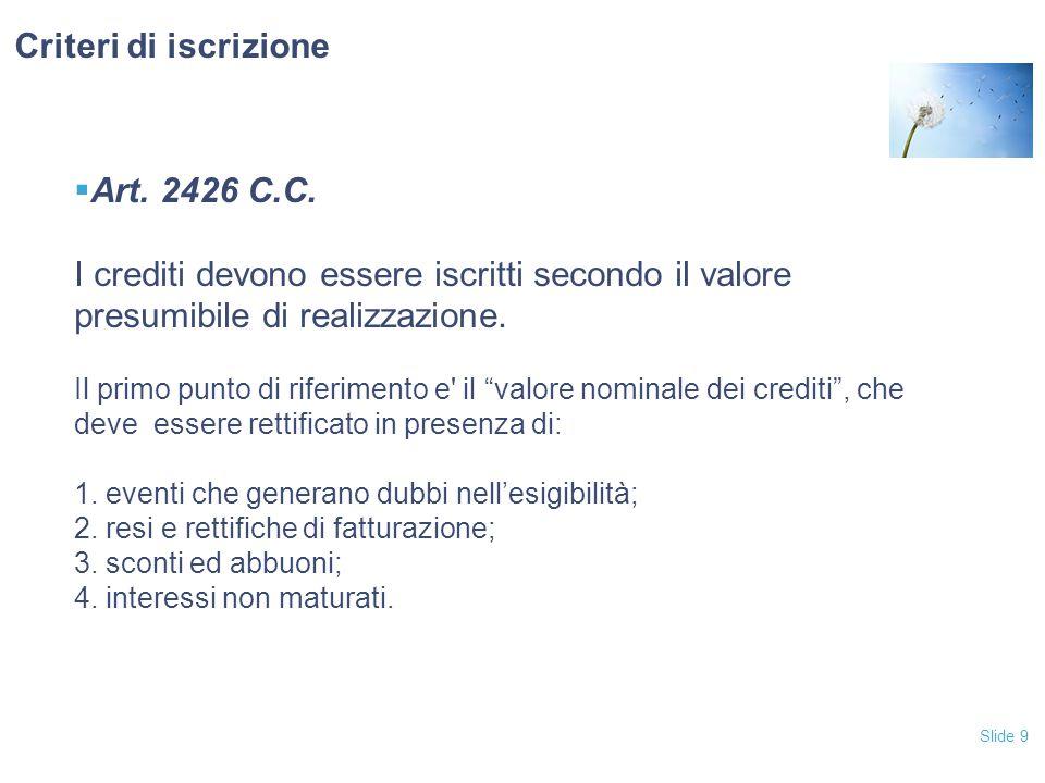 """Slide 9  Art. 2426 C.C. I crediti devono essere iscritti secondo il valore presumibile di realizzazione. Il primo punto di riferimento e' il """"valore"""
