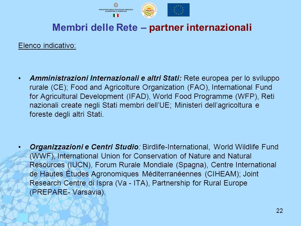 22 Membri delle Rete – partner internazionali Elenco indicativo: Amministrazioni Internazionali e altri Stati: Rete europea per lo sviluppo rurale (CE); Food and Agricolture Organization (FAO), International Fund for Agricultural Development (IFAD), World Food Programme (WFP), Reti nazionali create negli Stati membri dell'UE; Ministeri dell'agricoltura e foreste degli altri Stati.