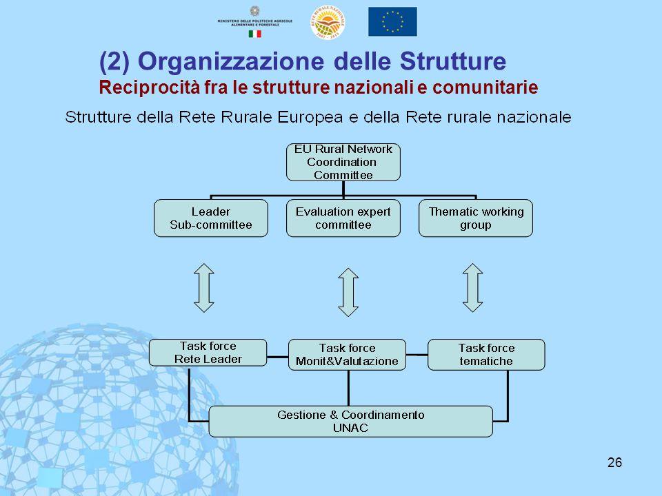 26 (2) Organizzazione delle Strutture Reciprocità fra le strutture nazionali e comunitarie