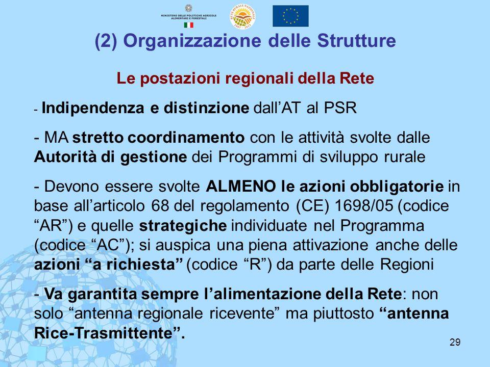 29 (2) Organizzazione delle Strutture Le postazioni regionali della Rete - Indipendenza e distinzione dall'AT al PSR - MA stretto coordinamento con le attività svolte dalle Autorità di gestione dei Programmi di sviluppo rurale - Devono essere svolte ALMENO le azioni obbligatorie in base all'articolo 68 del regolamento (CE) 1698/05 (codice AR ) e quelle strategiche individuate nel Programma (codice AC ); si auspica una piena attivazione anche delle azioni a richiesta (codice R ) da parte delle Regioni - Va garantita sempre l'alimentazione della Rete: non solo antenna regionale ricevente ma piuttosto antenna Rice-Trasmittente .