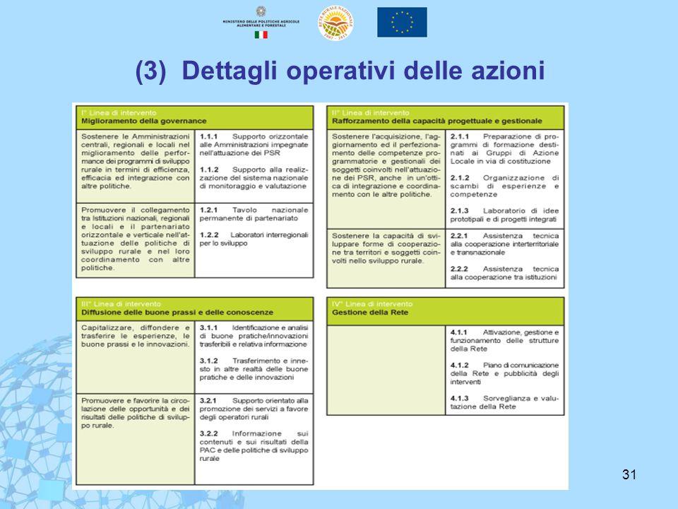 31 (3) Dettagli operativi delle azioni