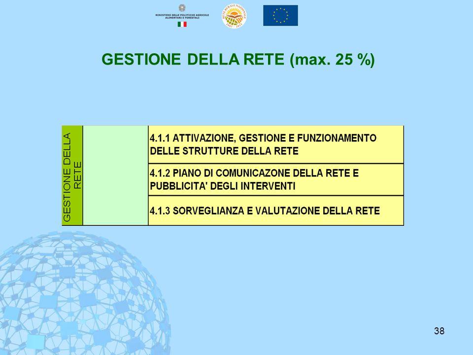 38 GESTIONE DELLA RETE (max. 25 %)