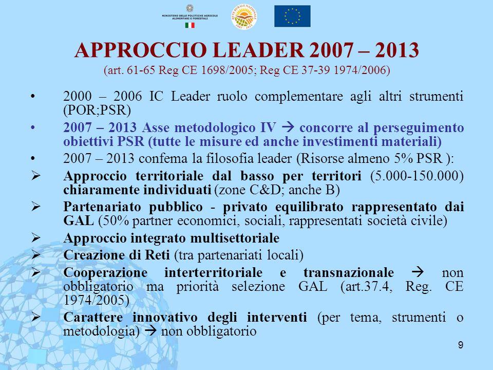 9 APPROCCIO LEADER 2007 – 2013 (art. 61-65 Reg CE 1698/2005; Reg CE 37-39 1974/2006) 2000 – 2006 IC Leader ruolo complementare agli altri strumenti (P