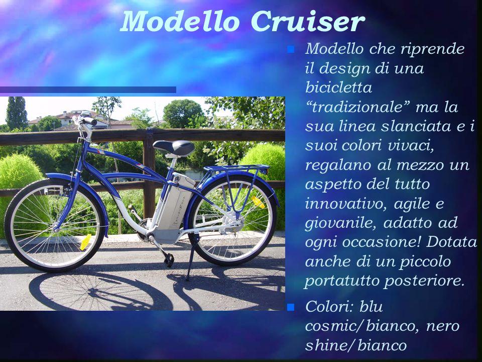 Modello Cruiser n Modello che riprende il design di una bicicletta tradizionale ma la sua linea slanciata e i suoi colori vivaci, regalano al mezzo un aspetto del tutto innovativo, agile e giovanile, adatto ad ogni occasione.