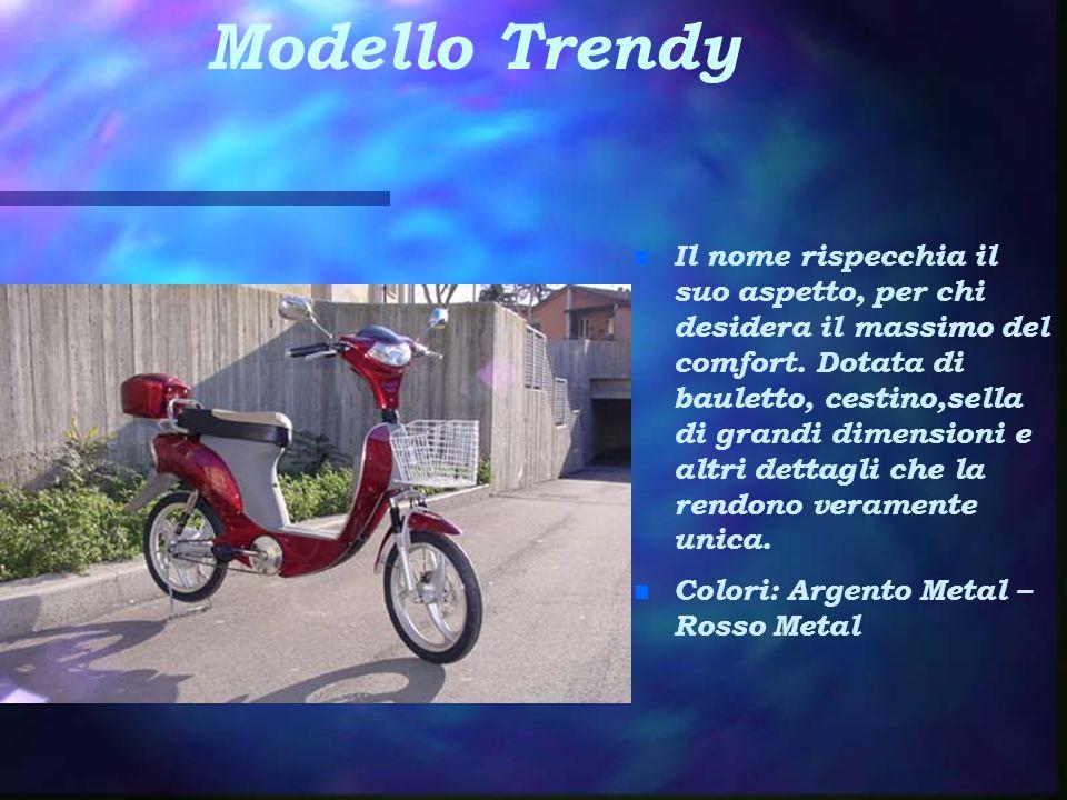 Modello Trendy n Il nome rispecchia il suo aspetto, per chi desidera il massimo del comfort. Dotata di bauletto, cestino,sella di grandi dimensioni e