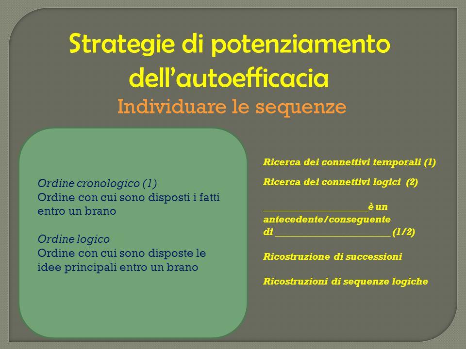 Strategie di potenziamento dell'autoefficacia Individuare le sequenze Ordine cronologico (1) Ordine con cui sono disposti i fatti entro un brano Ordin