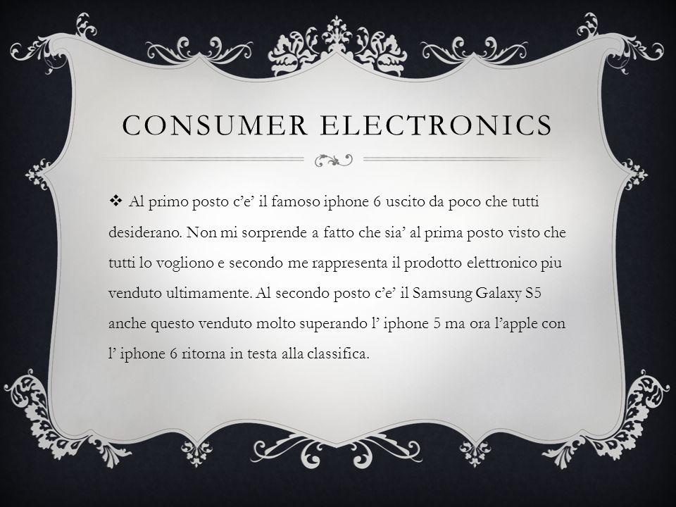 CONSUMER ELECTRONICS  Al primo posto c'e' il famoso iphone 6 uscito da poco che tutti desiderano. Non mi sorprende a fatto che sia' al prima posto vi