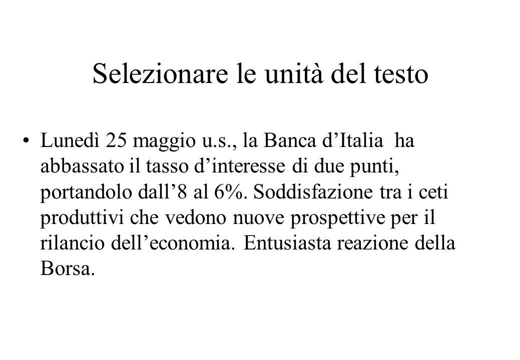 Selezionare le unità del testo Lunedì 25 maggio u.s., la Banca d'Italia ha abbassato il tasso d'interesse di due punti, portandolo dall'8 al 6%.