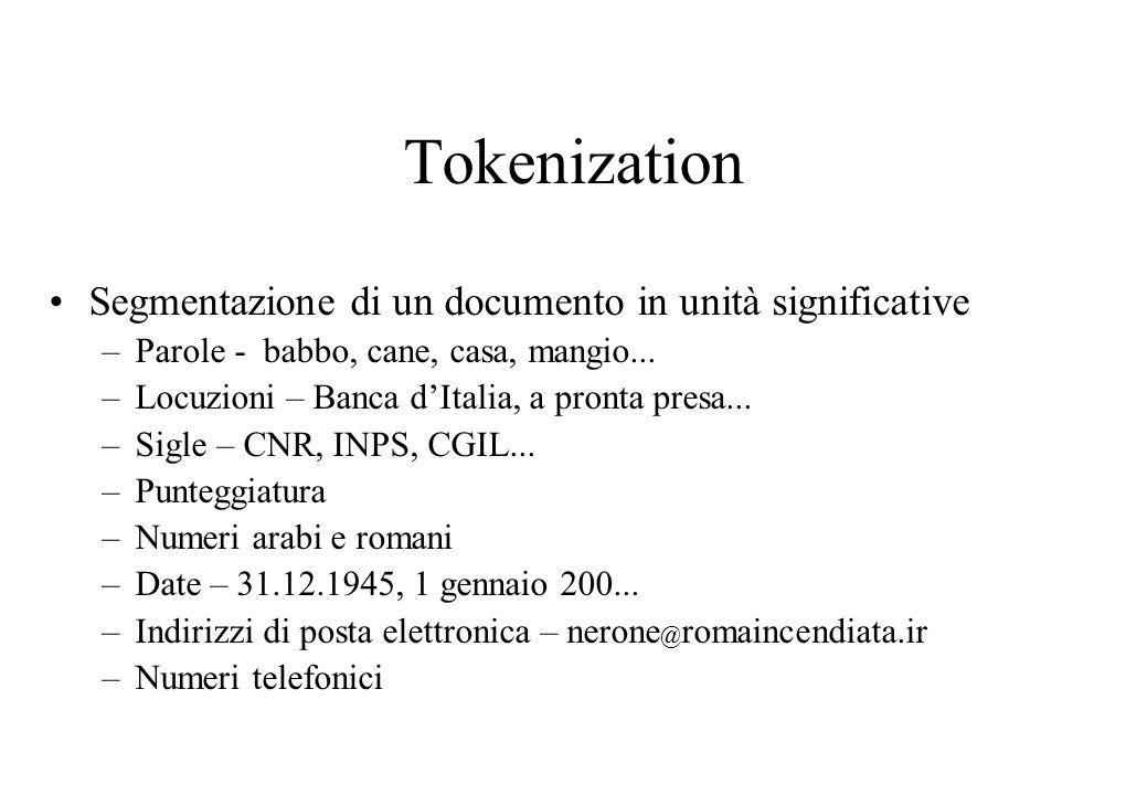 Tokenization Segmentazione di un documento in unità significative –Parole - babbo, cane, casa, mangio...