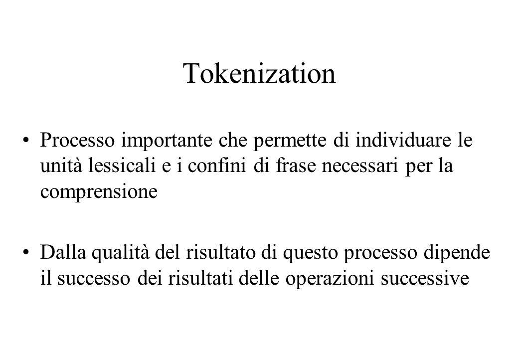 Tokenization Processo importante che permette di individuare le unità lessicali e i confini di frase necessari per la comprensione Dalla qualità del risultato di questo processo dipende il successo dei risultati delle operazioni successive