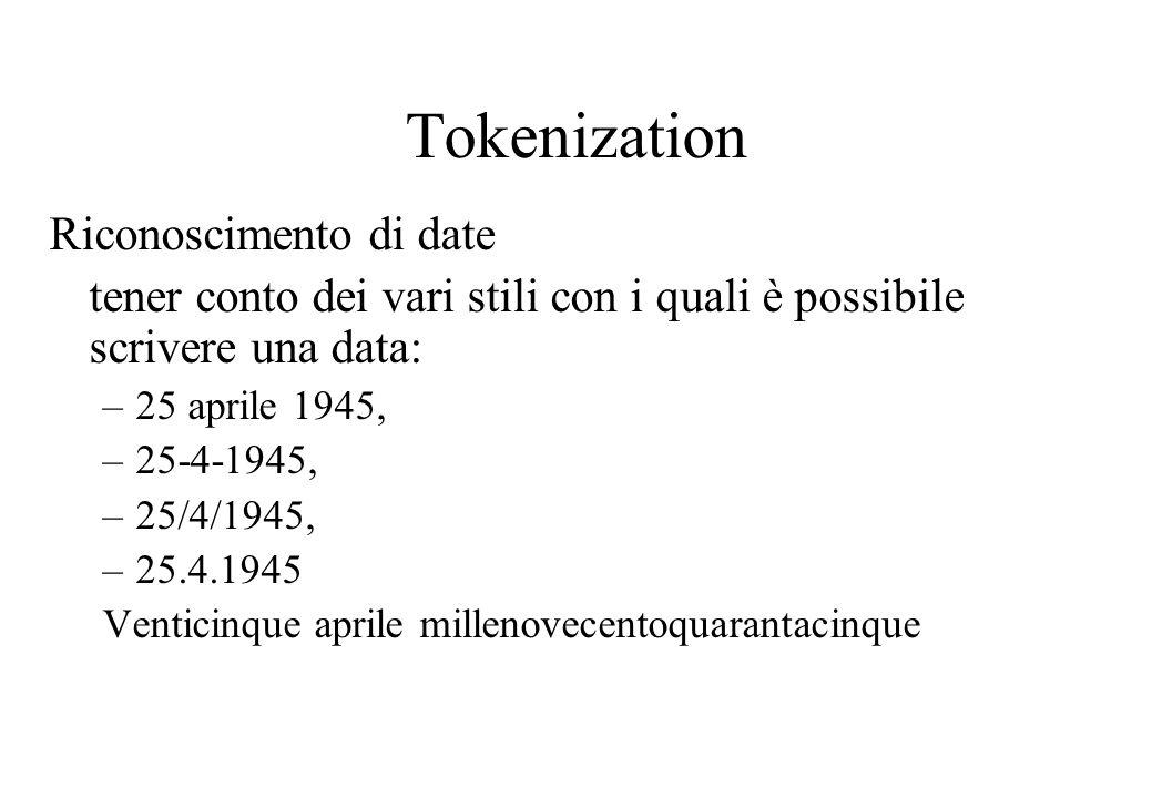 Tokenization Riconoscimento di date tener conto dei vari stili con i quali è possibile scrivere una data: –25 aprile 1945, –25-4-1945, –25/4/1945, –25.4.1945 Venticinque aprile millenovecentoquarantacinque