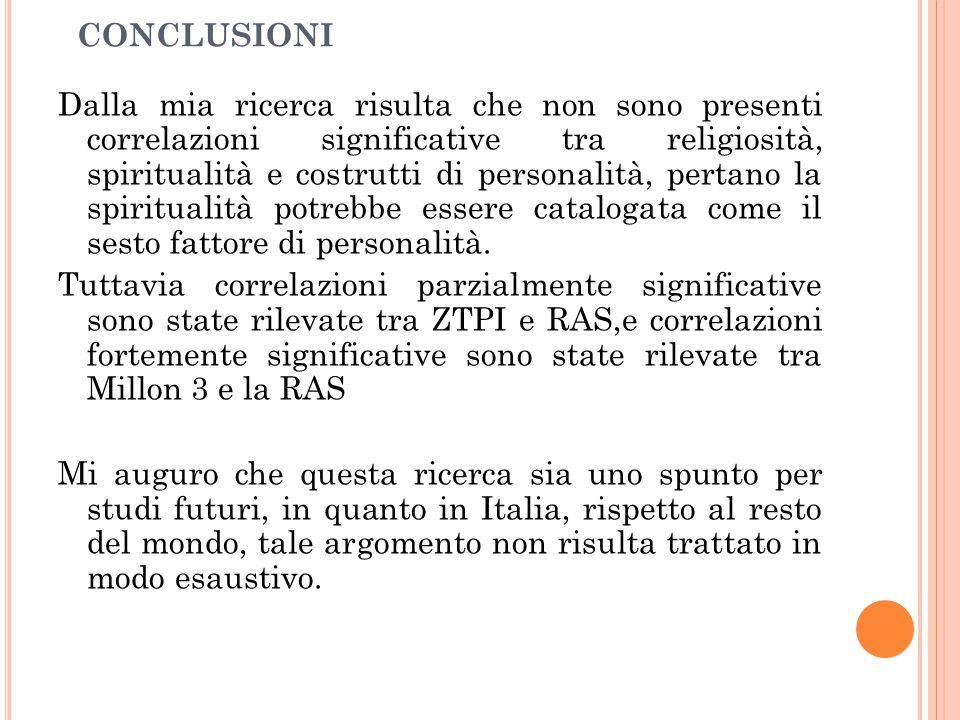 CONCLUSIONI Dalla mia ricerca risulta che non sono presenti correlazioni significative tra religiosità, spiritualità e costrutti di personalità, perta