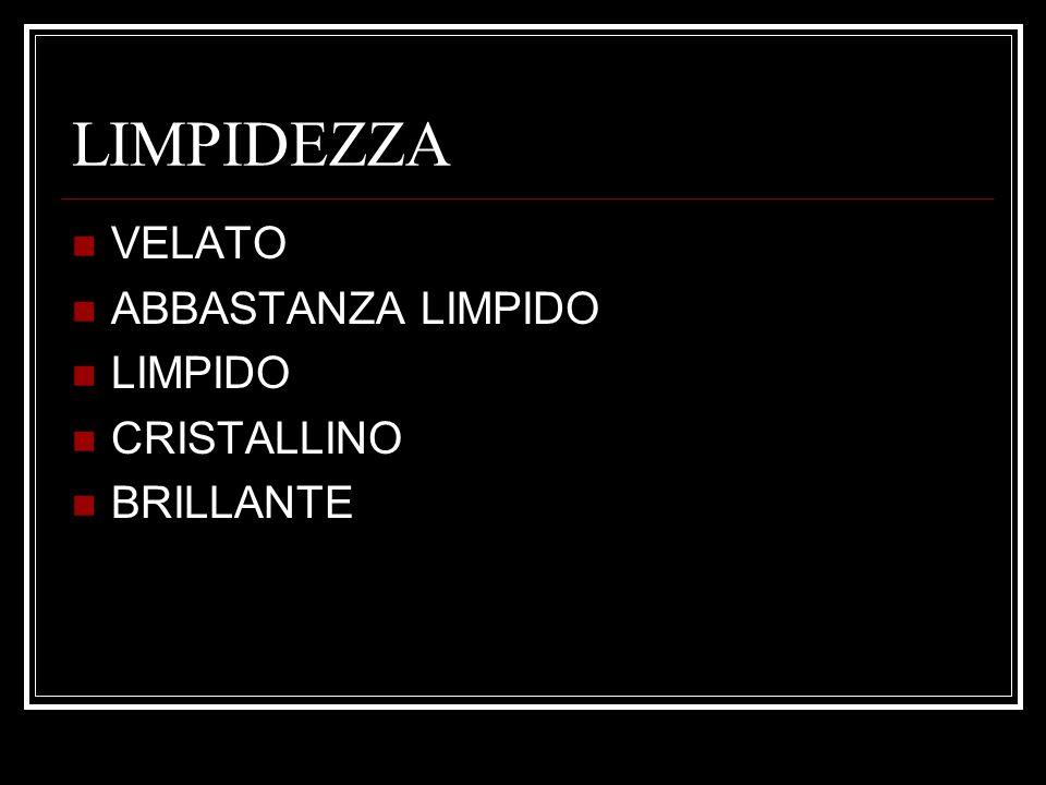 LIMPIDEZZA VELATO ABBASTANZA LIMPIDO LIMPIDO CRISTALLINO BRILLANTE