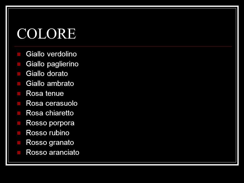 COLORE Giallo verdolino Giallo paglierino Giallo dorato Giallo ambrato Rosa tenue Rosa cerasuolo Rosa chiaretto Rosso porpora Rosso rubino Rosso granato Rosso aranciato