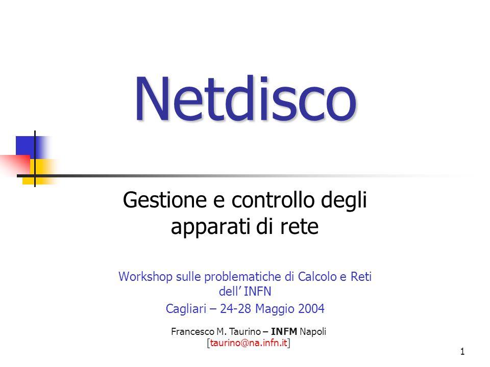Francesco M. Taurino – INFM Napoli [taurino@na.infn.it] 1 Netdisco Gestione e controllo degli apparati di rete Workshop sulle problematiche di Calcolo
